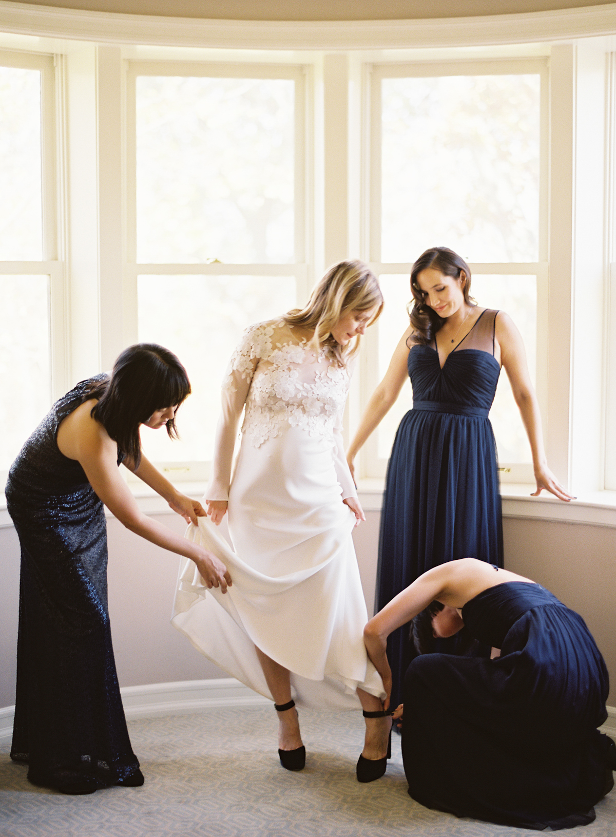 Blue Hill at Stone Barns wedding, event planner Ang Weddings and Events, photography Judy Pak, wedding gown, navy bridesmaids Amsale
