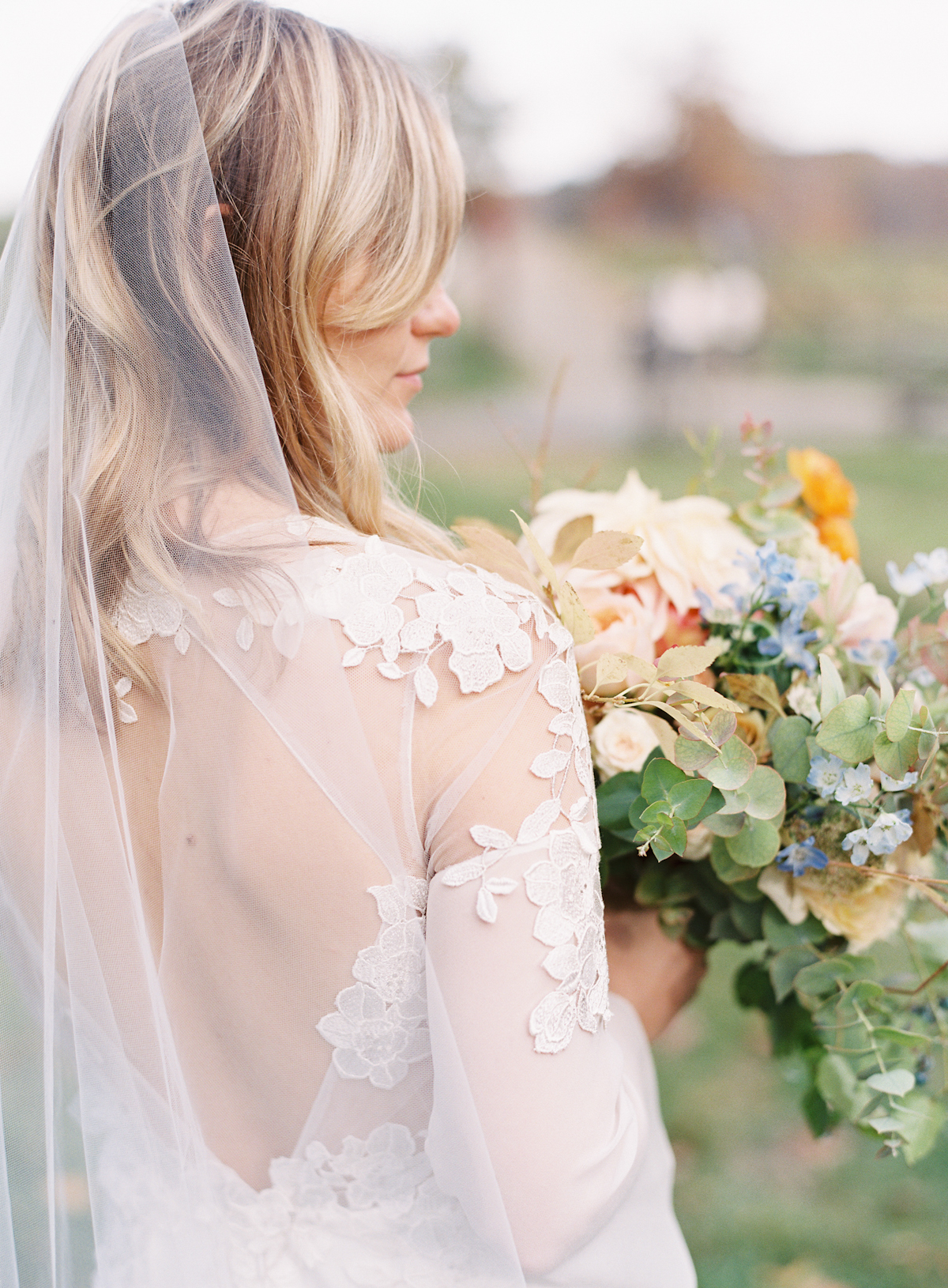 Blue Hill at Stone Barns wedding, event planner Ang Weddings and Events, photography Judy Pak, bouquet Saipua, bride in lace wedding gown