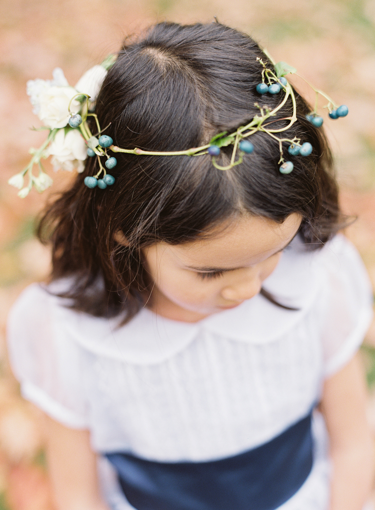Blue Hill at Stone Barns wedding, event planner Ang Weddings and Events, photography Judy Pak, flower girl with flower crown