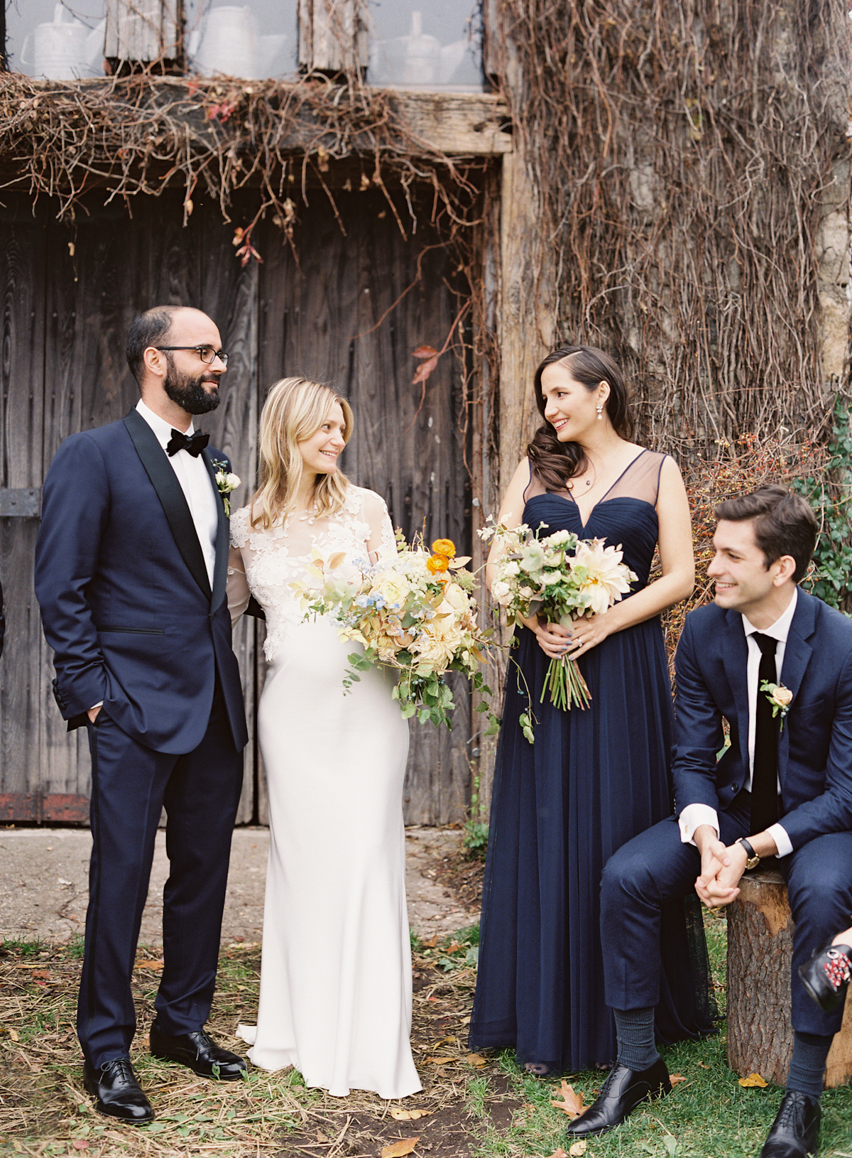 Blue Hill at Stone Barns wedding, event planner Ang Weddings and Events, photography Judy Pak, navy bridesmaid dresses Amsale, navy tuxedo