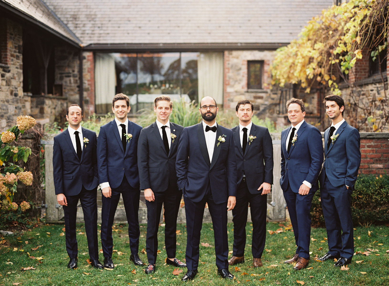 Blue Hill at Stone Barns wedding, event planner Ang Weddings and Events, photography Judy Pak, groomsmen, navy tuxedo
