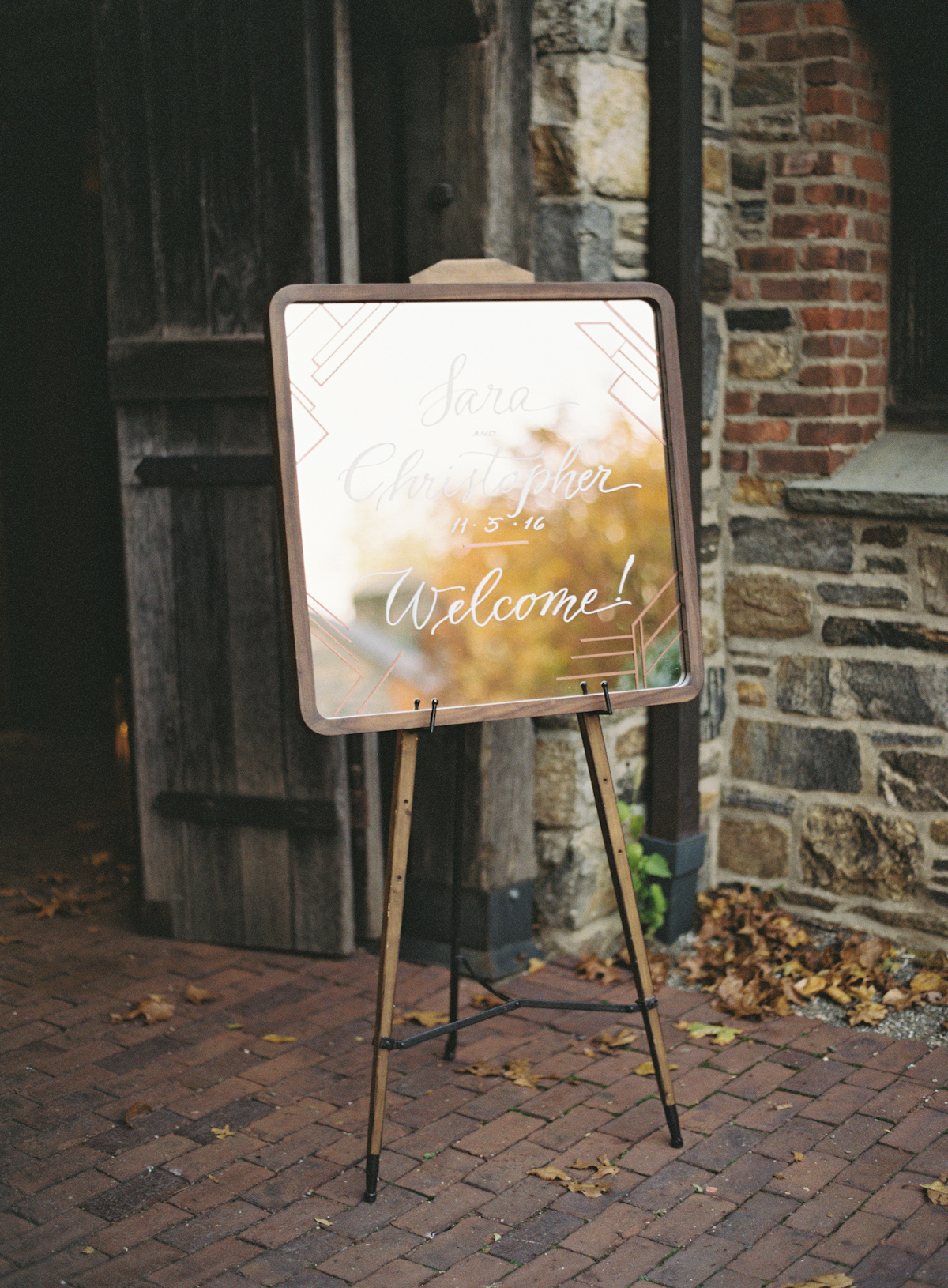 Blue Hill at Stone Barns wedding, event planner Ang Weddings and Events, photography Judy Pak, welcome sign mirror