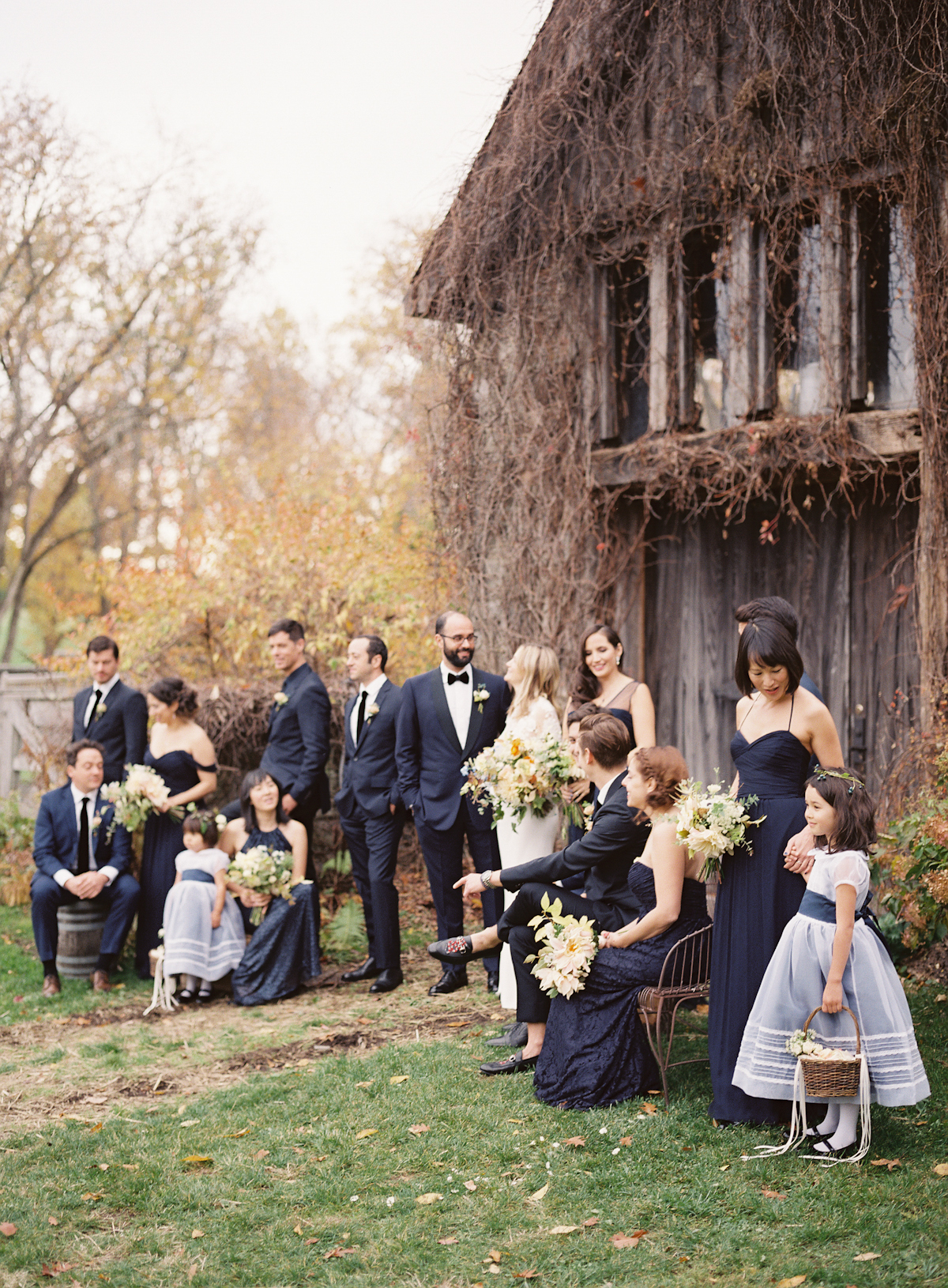 Blue Hill at Stone Barns wedding, event planner Ang Weddings and Events, photography Judy Pak, navy bridesmaids, navy tuxedo