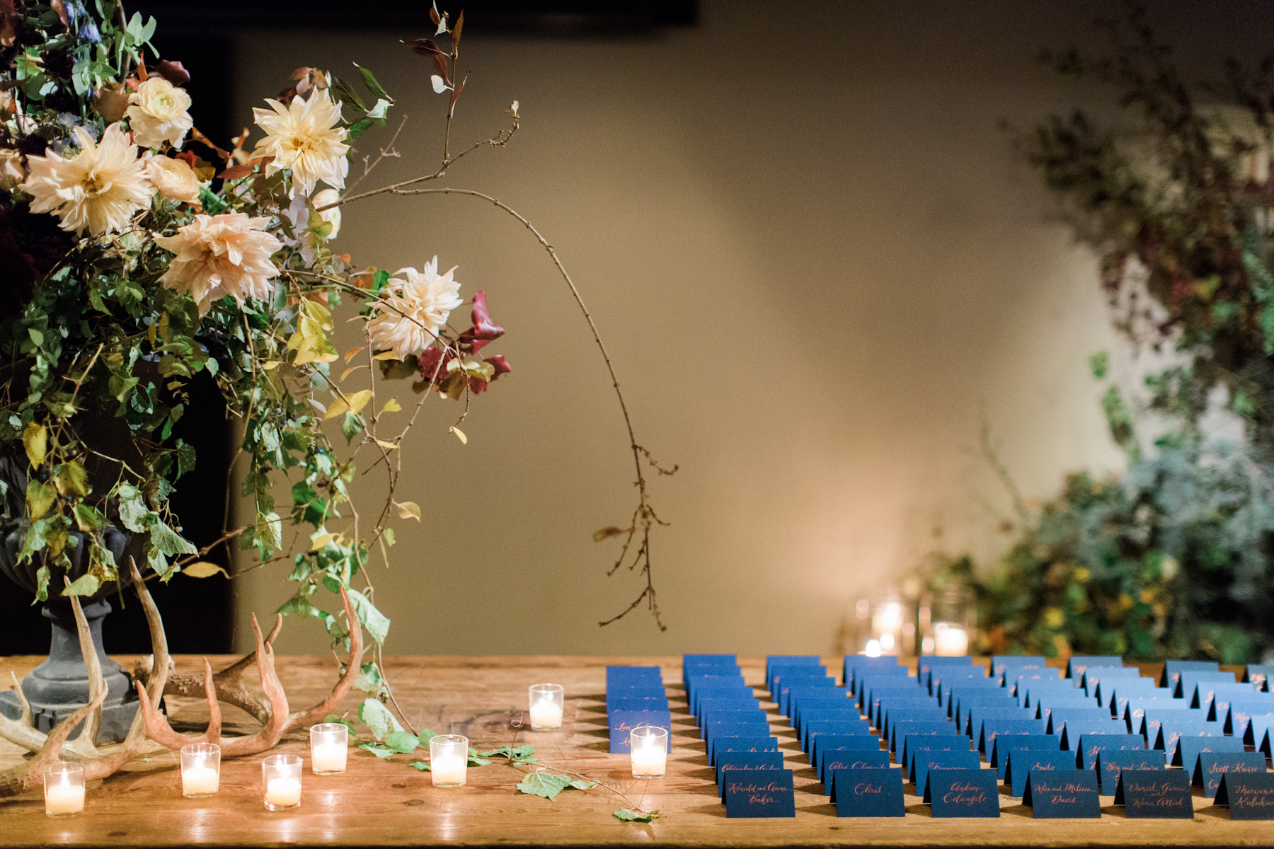 Blue Hill at Stone Barns wedding, event planner Ang Weddings and Events, photography Judy Pak, escort table Saipua