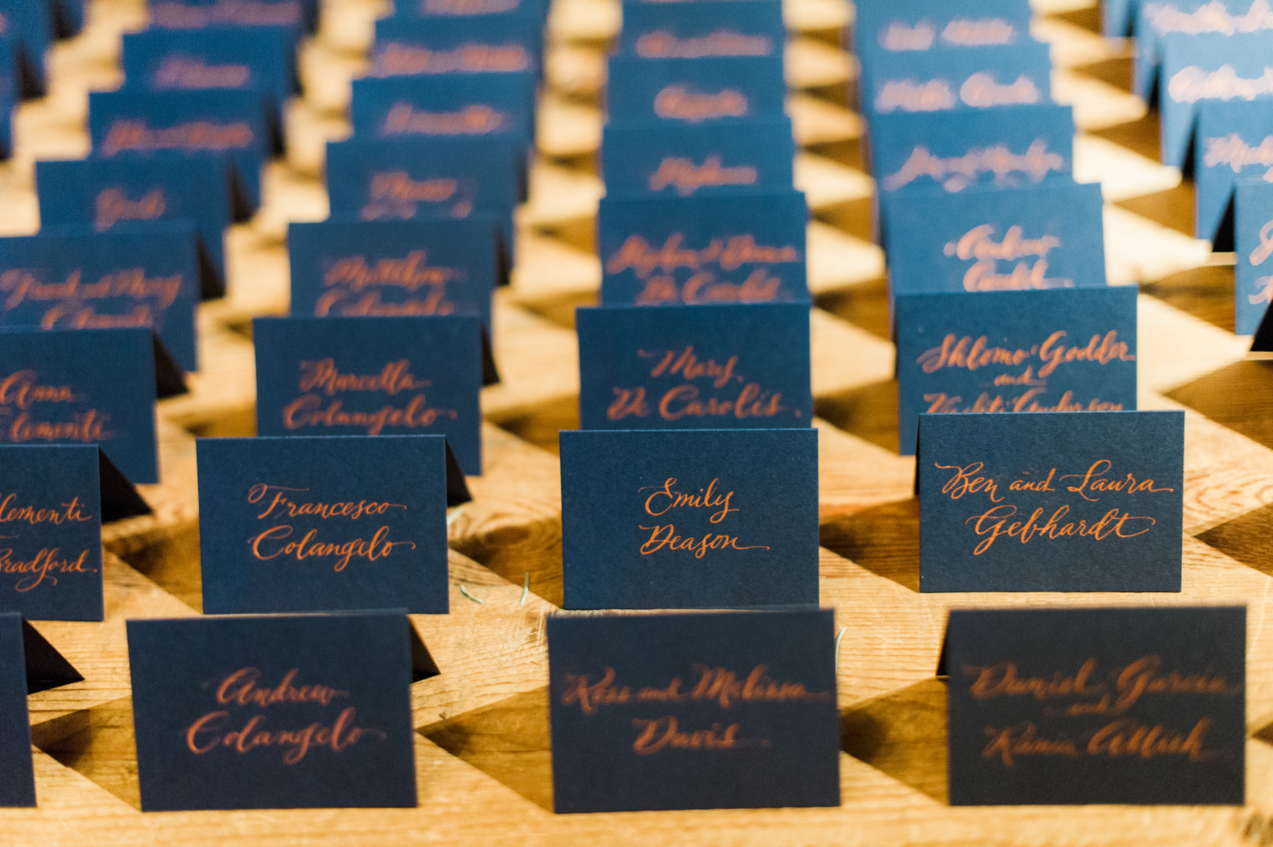 Blue Hill at Stone Barns wedding, event planner Ang Weddings and Events, photography Judy Pak, copper calligraphy navy escort cards Katie Fischer Design