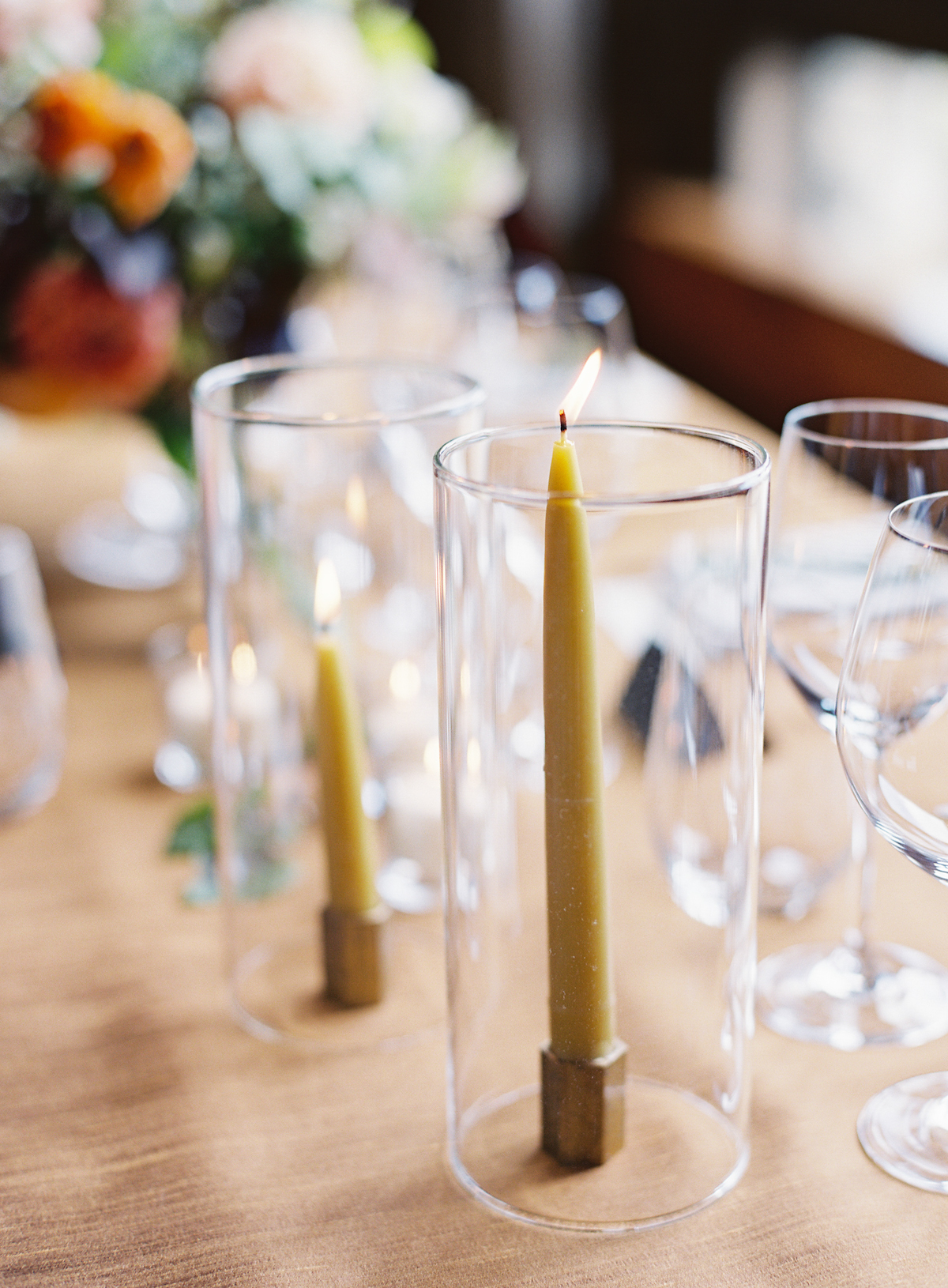 Blue Hill at Stone Barns wedding, event planner Ang Weddings and Events, photography Judy Pak, taper candles