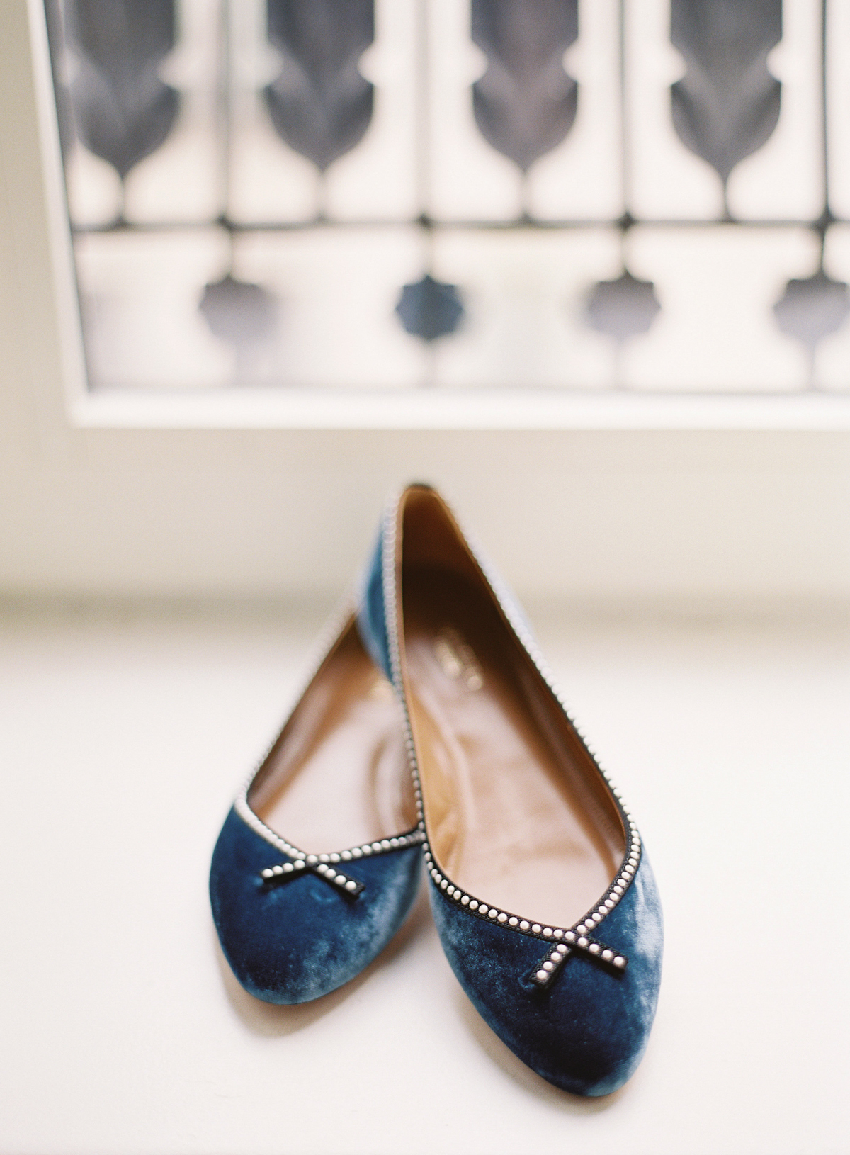 Blue shoes for Plaza wedding