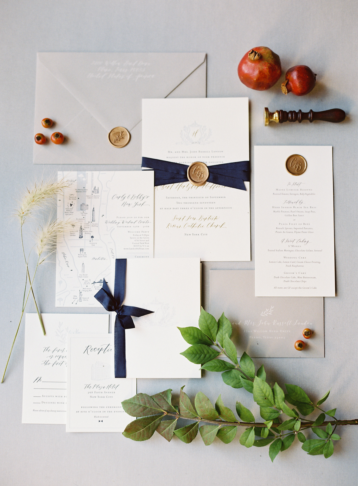 Plaza wedding invitation suite with wax seals and hand calligraphy