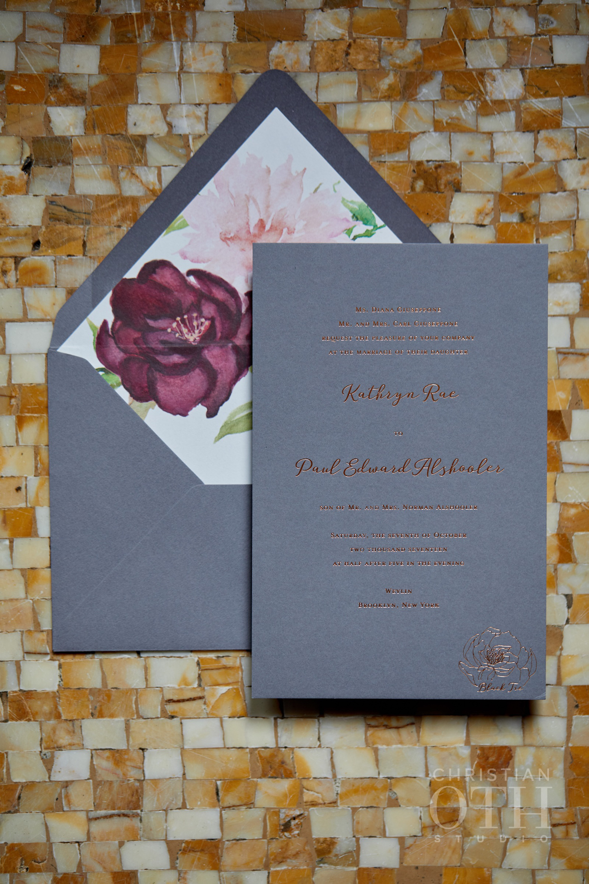 Weylin wedding, Ang Weddings and Events, Christian Oth Studios, Poppies and Posies, Katie Fischer Design wedding invitation