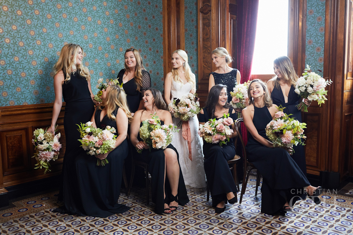 Weylin wedding, Ang Weddings and Events, Christian Oth Studios, Poppies and Posies, black bridesmaid dress