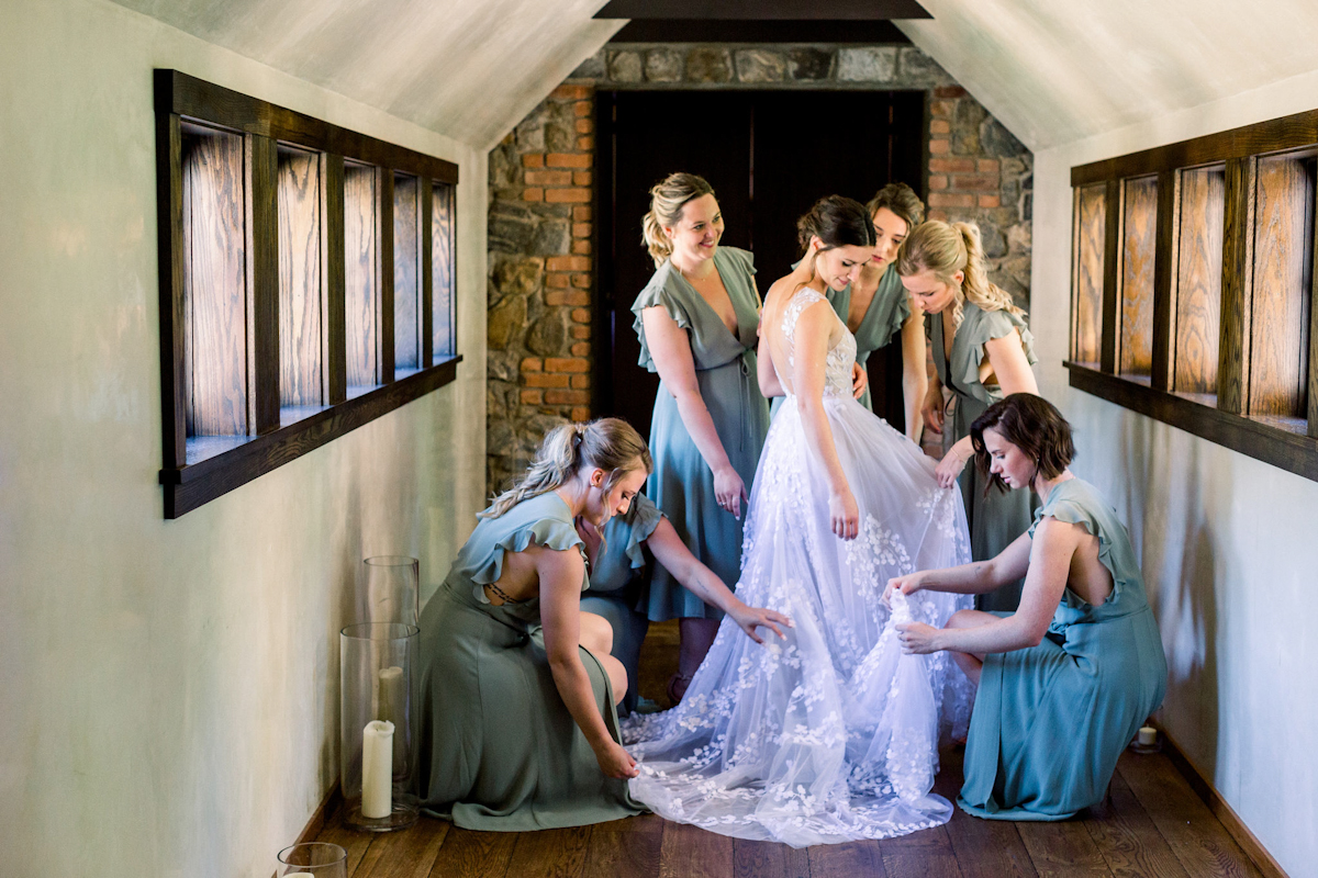 Blue Hill at Stone Barns bride and bridesmaids in green