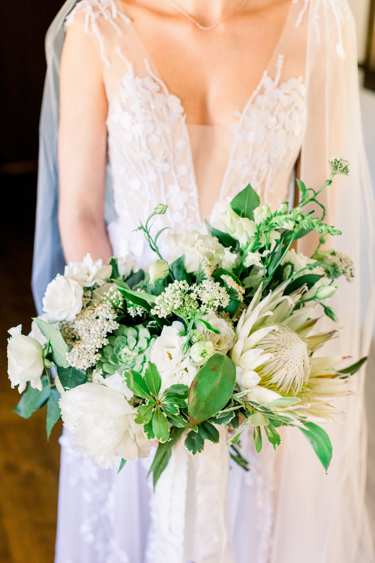 Blue Hill at Stone Barns wedding bouquet in white and green