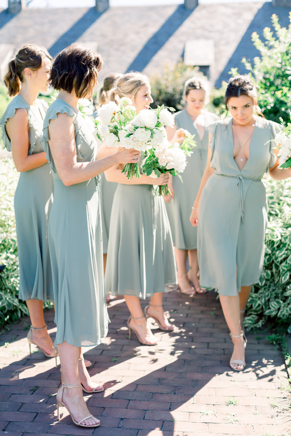 Bridesmaids in green at Blue Hill at Stone Barns wedding