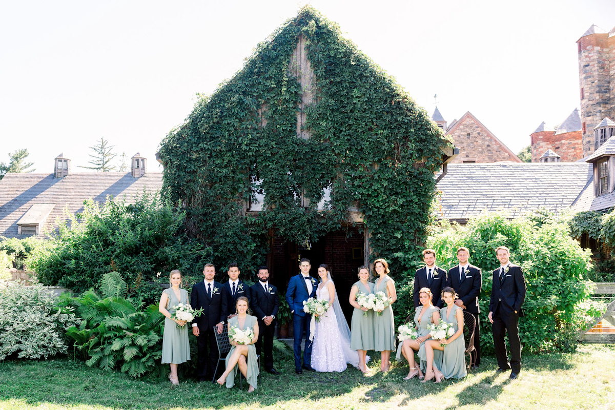 Bride, groom, bridesmaids and groomsmen at Blue Hill at Stone Barns wedding