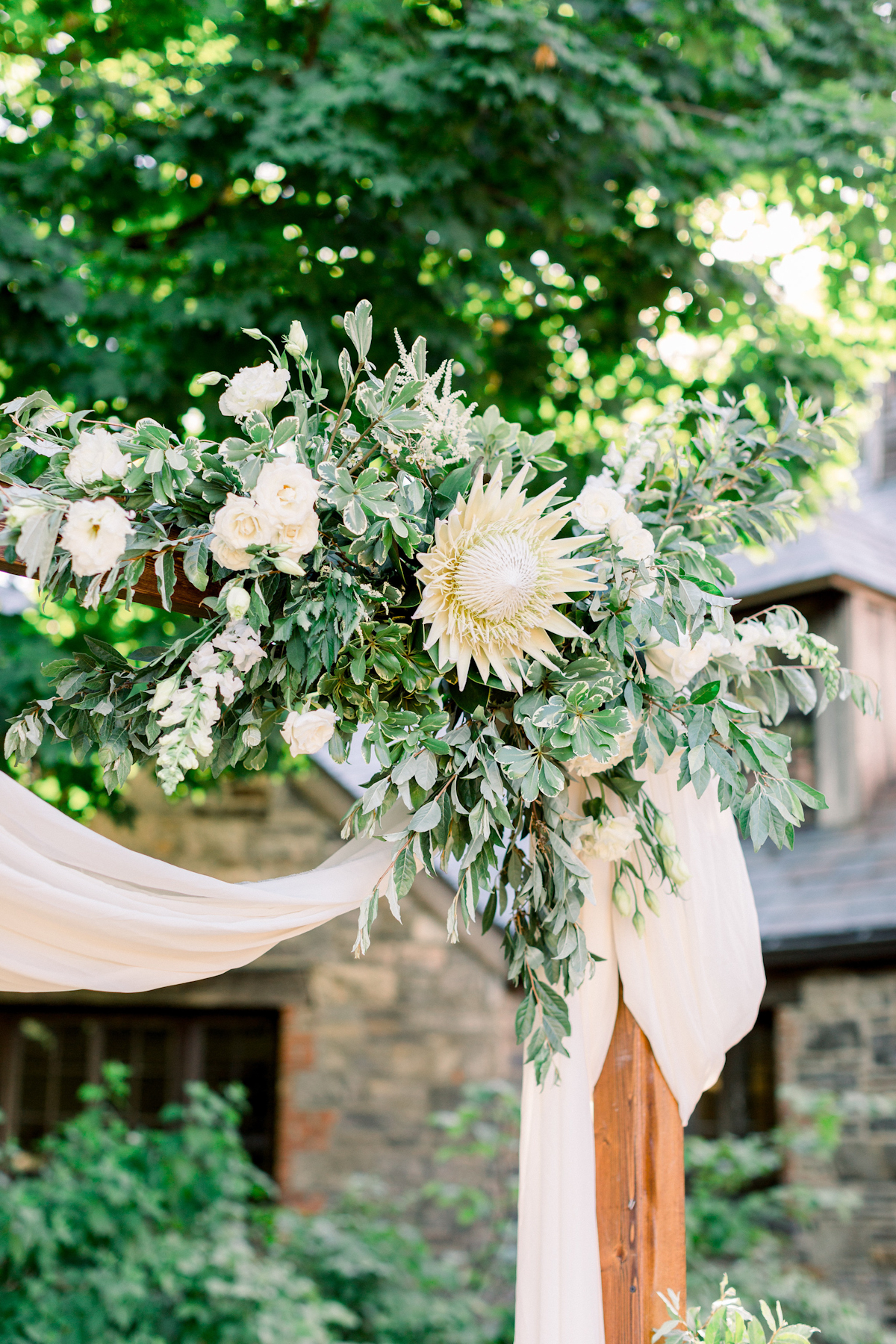 Floral arch at Blue Hill at Stone Barns wedding