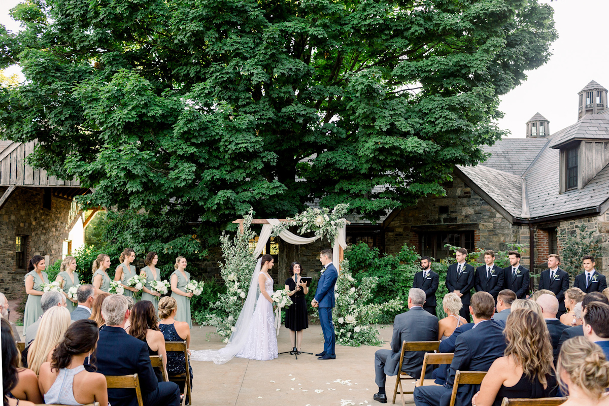 Outdoor Blue Hill at Stone Barns wedding ceremony