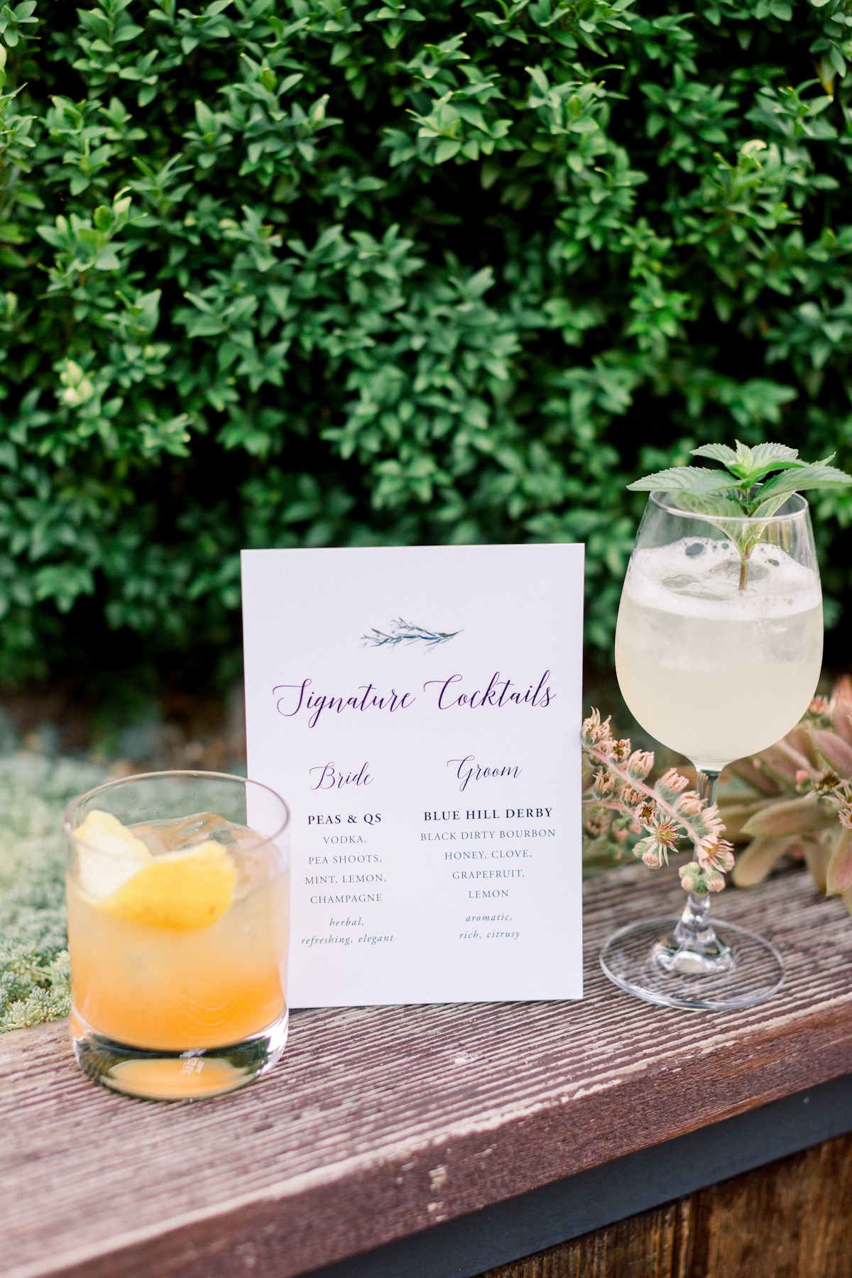 Signature cocktail sign at Blue Hill at Stone Barns wedding