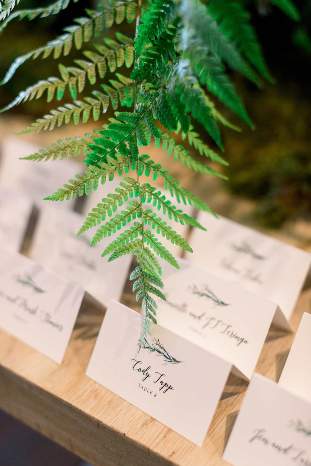 Escort cards at Blue Hill at Stone Barns wedding