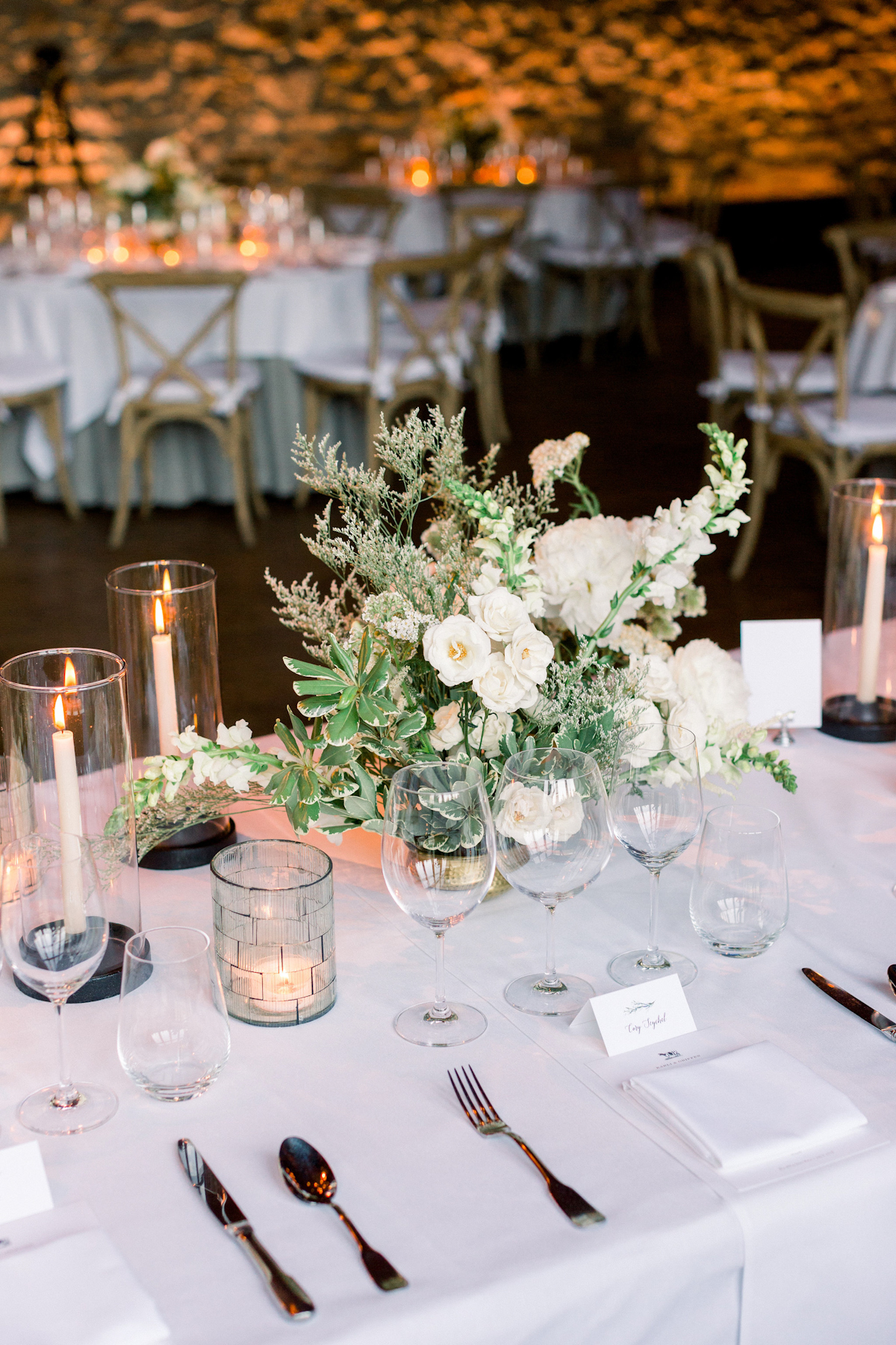 Blue Hill at Stone Barns wedding with taper candles and white flowers