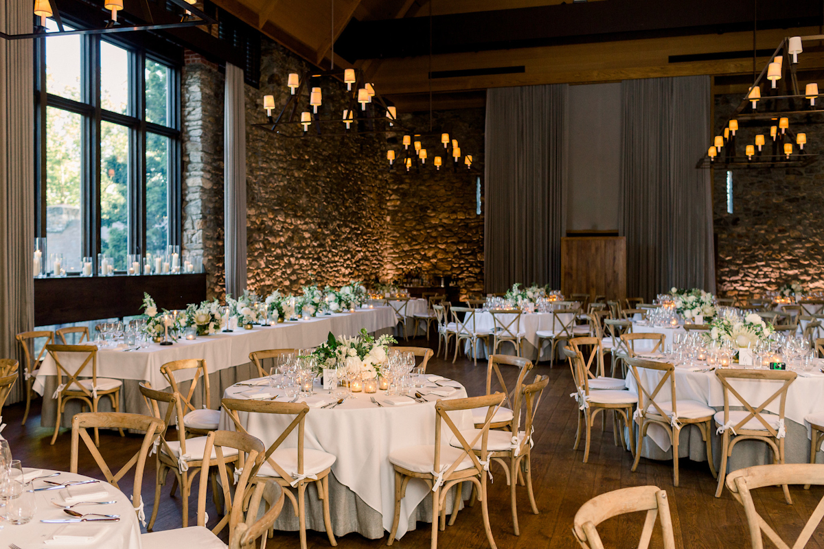 Blue Hill at Stone Barns wedding tablescape with white and green flowers
