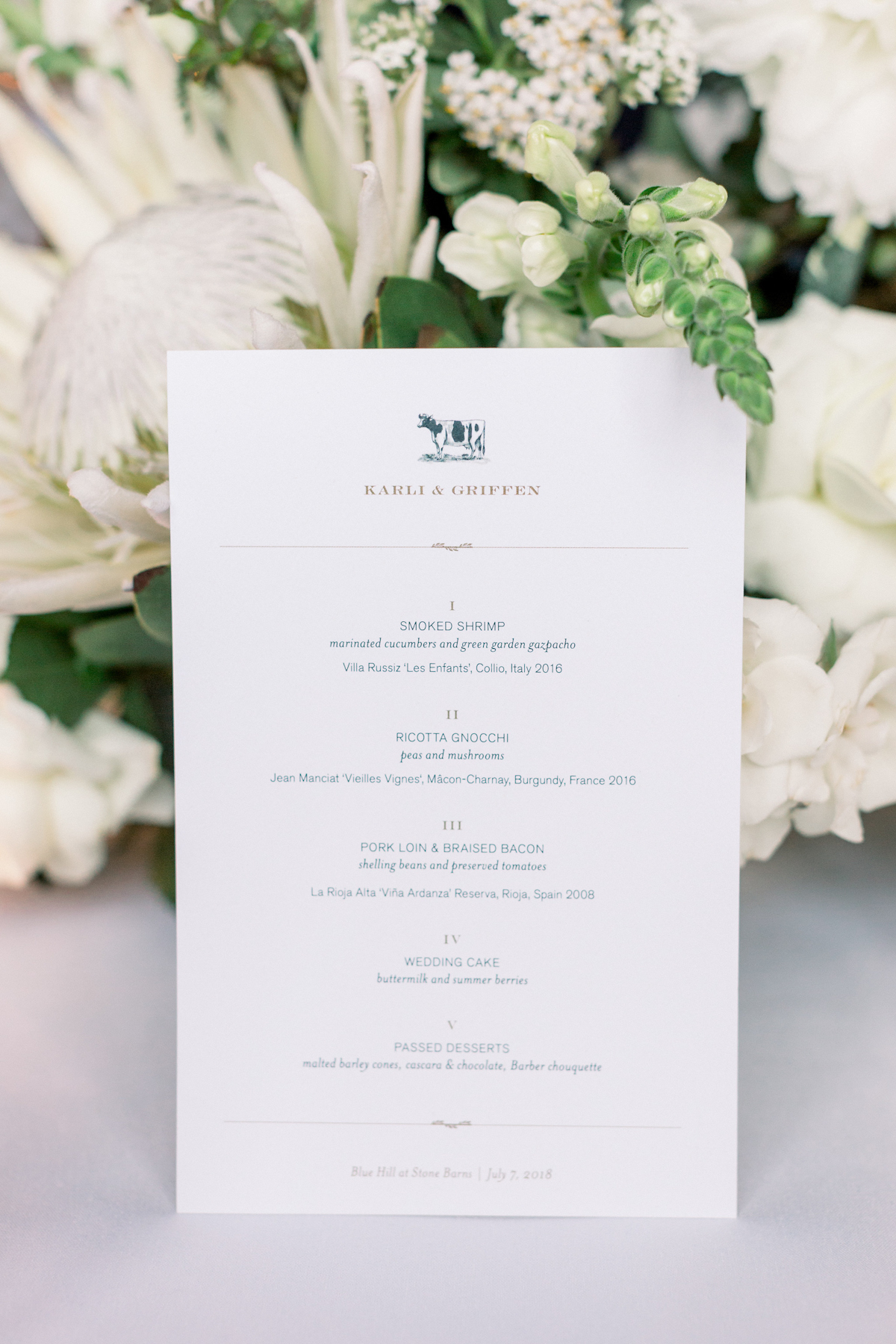 Blue Hill at Stone Barns wedding menu with cow motif