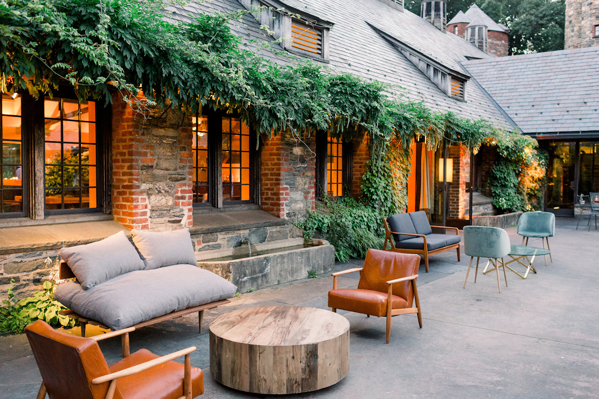 Blue Hil at Stone Barns outside terrace with lounge furniture for after party