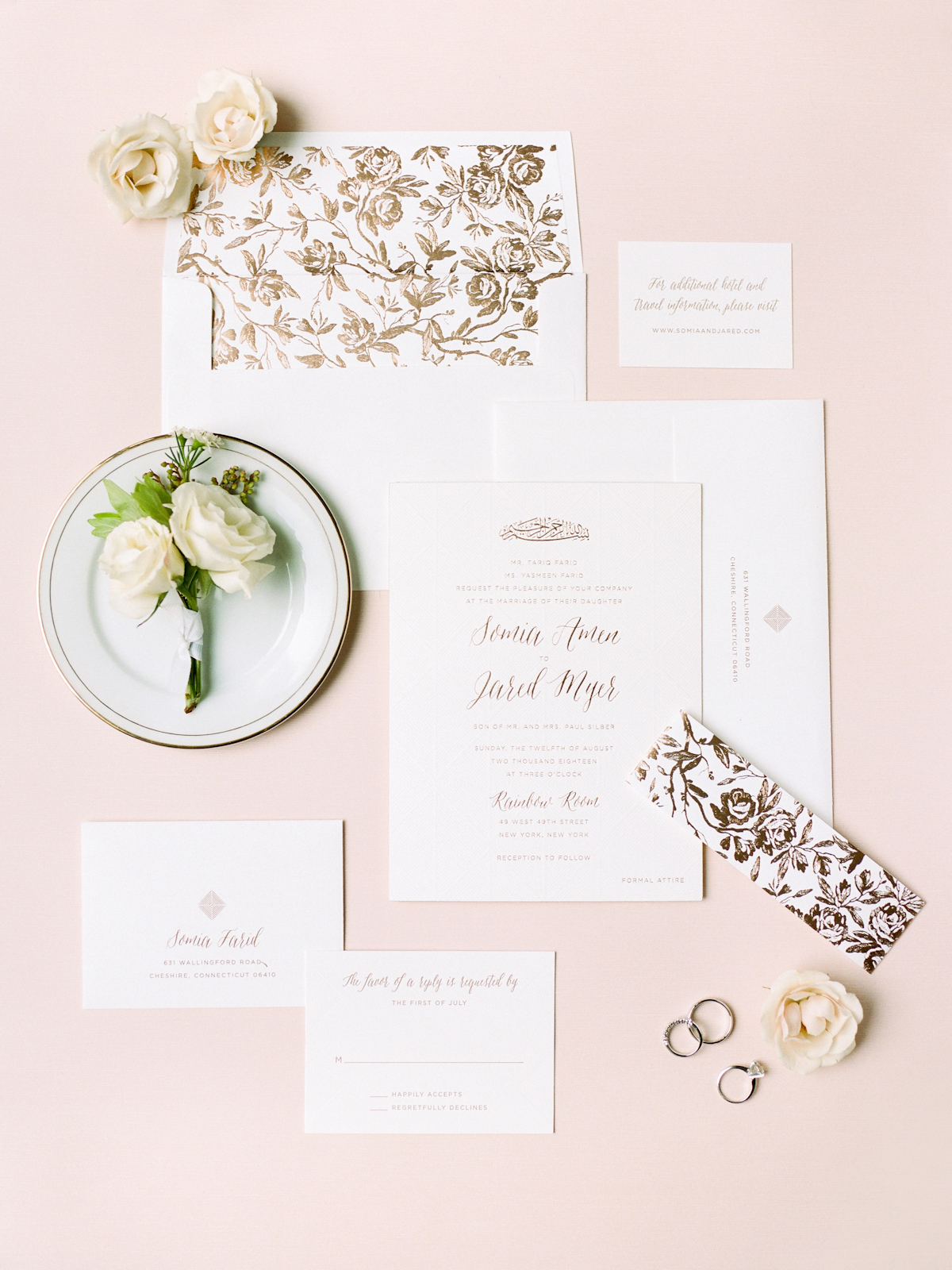 Invitation suite for Rainbow Room wedding