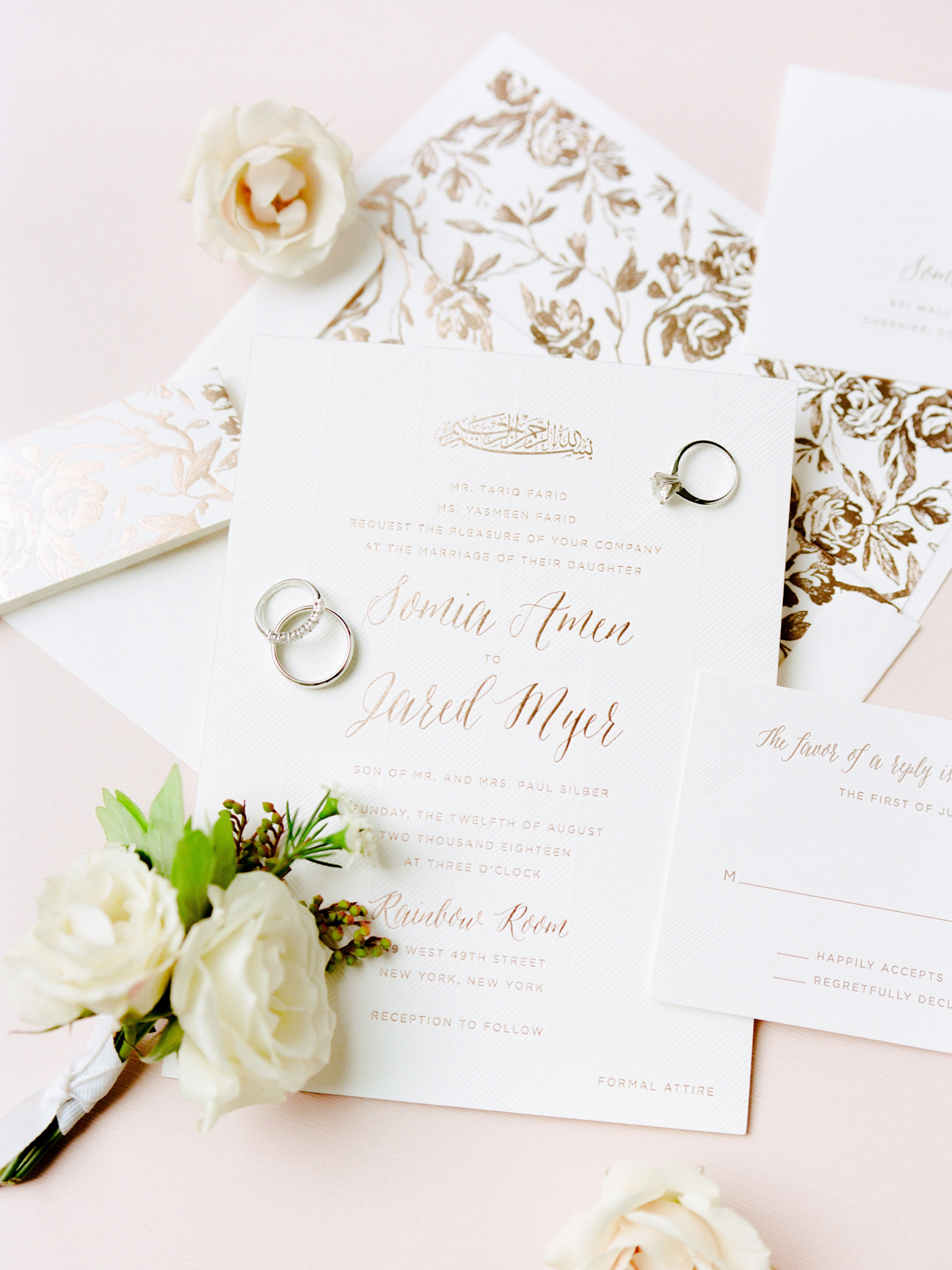 Invitation suite with floral envelope liner for Rainbow Room wedding