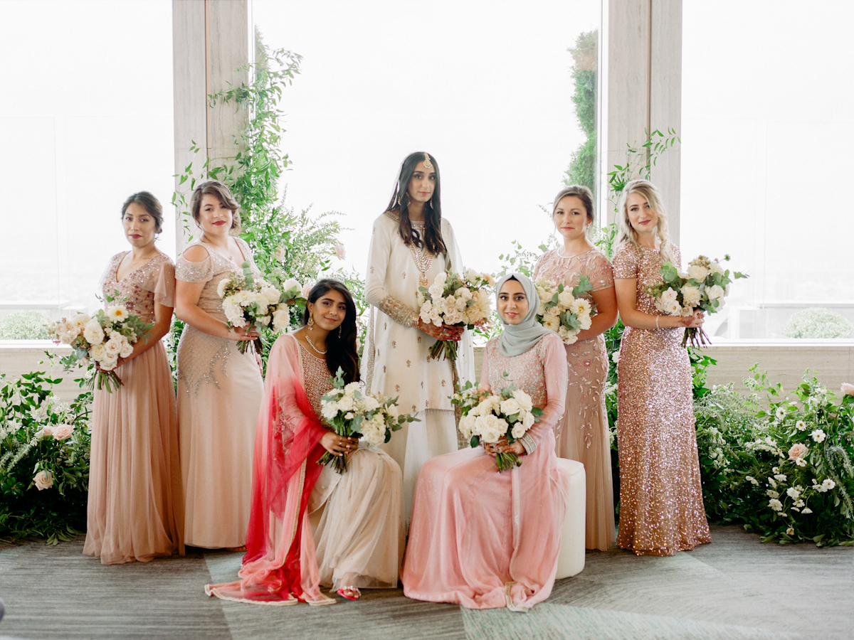 South asian bride with bridesmaids at Rainbow Room wedding