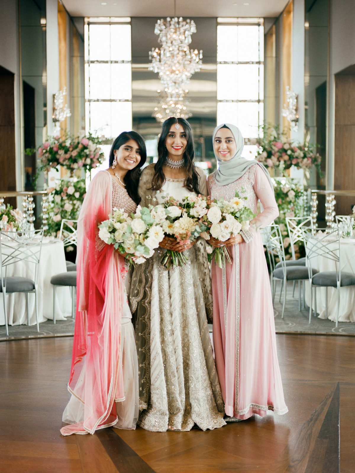South asian bride and bridesmaids at Rainbow Room wedding