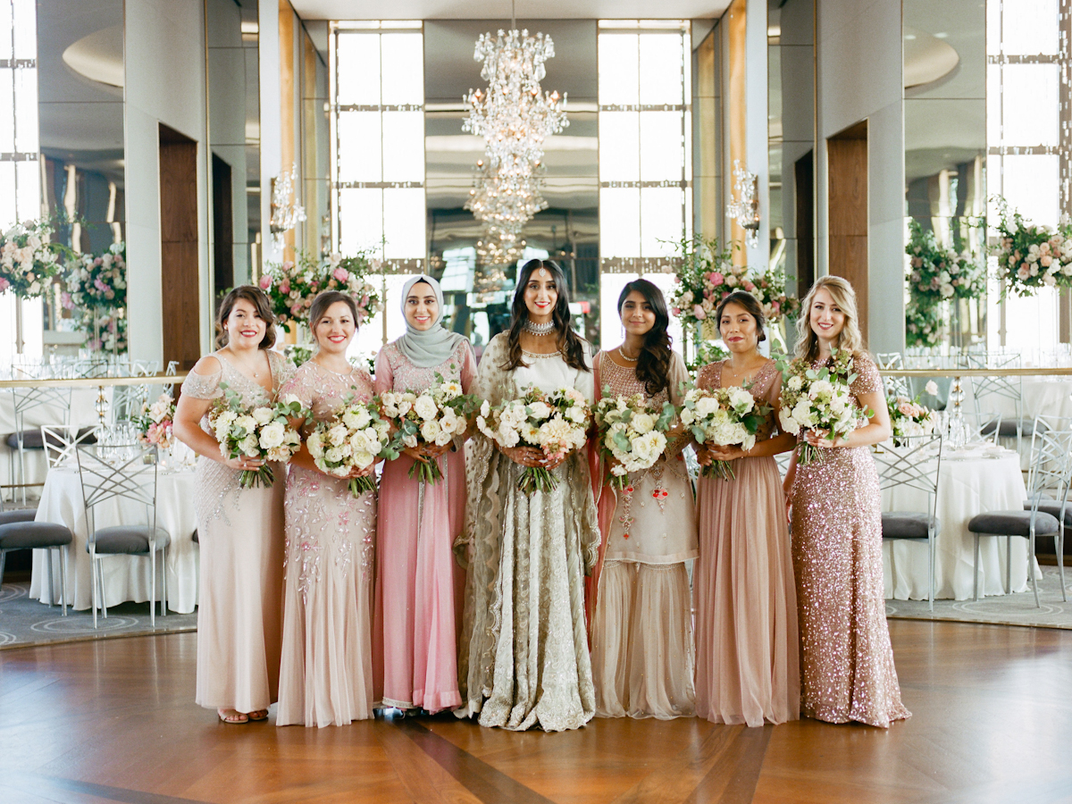 South asian bride and bridesmaids in Rainbow Room wedding