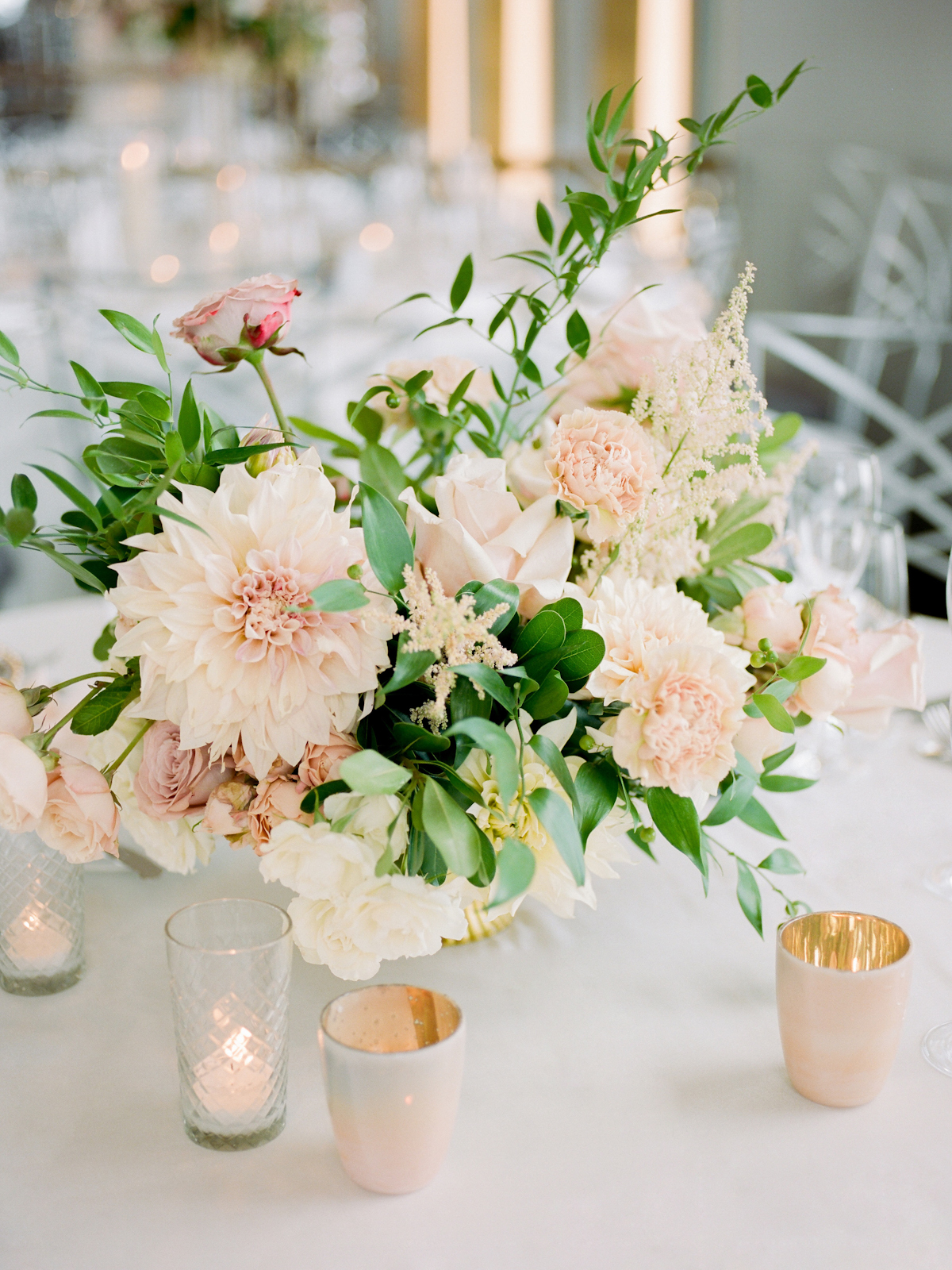 Rainbow Room wedding flowers with dahlia and roses