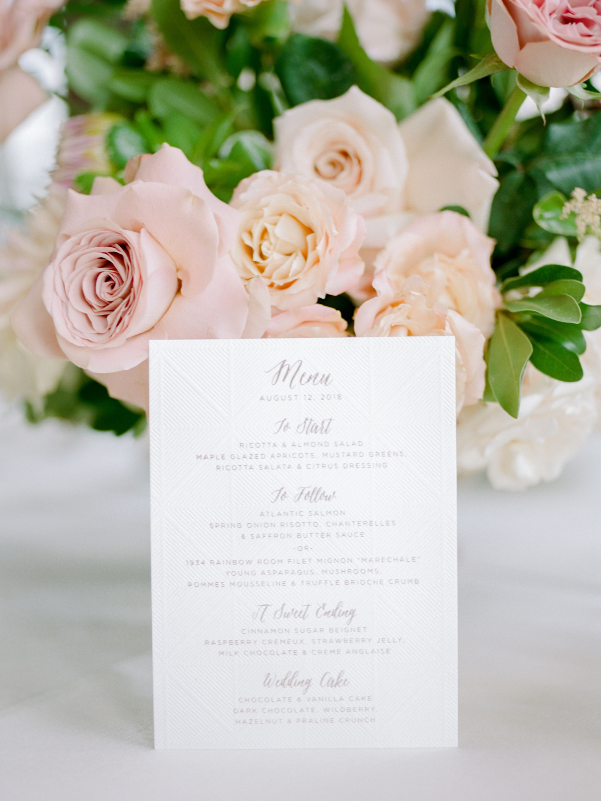 Rainbow Room wedding menu with foil stamped details