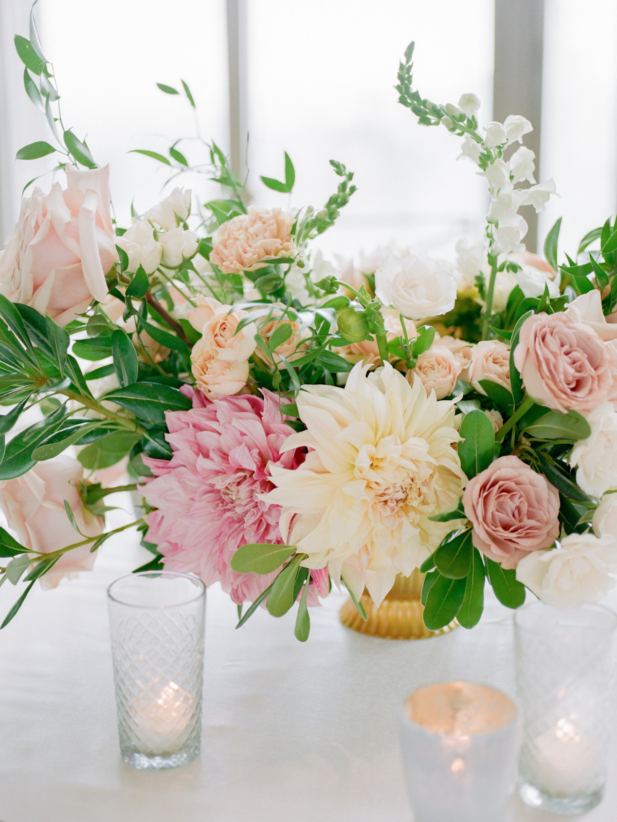 Dahlia and rose centerpiece at Rainbow Room wedding
