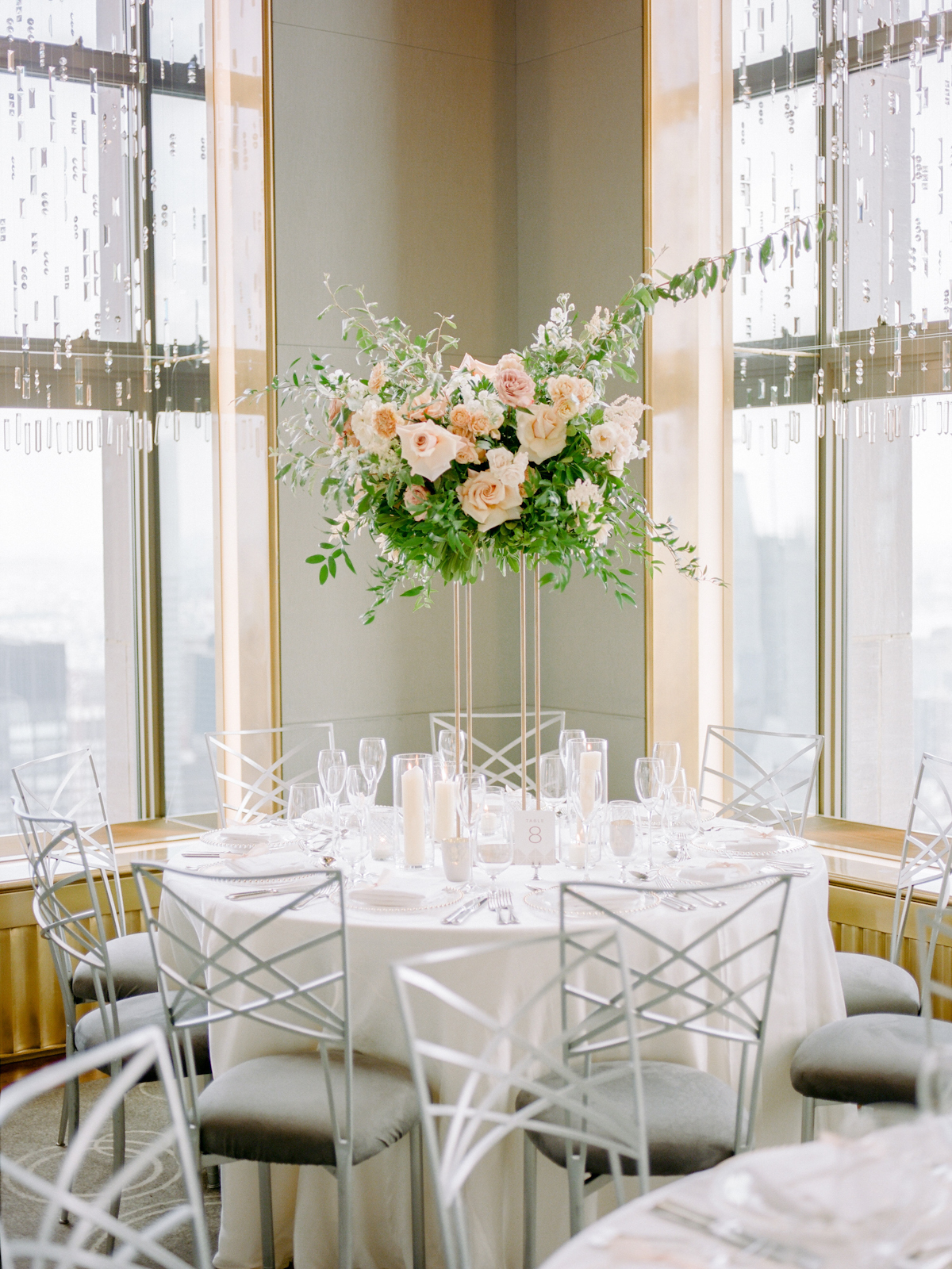Tall floral centerpiece at Rainbow Room wedding