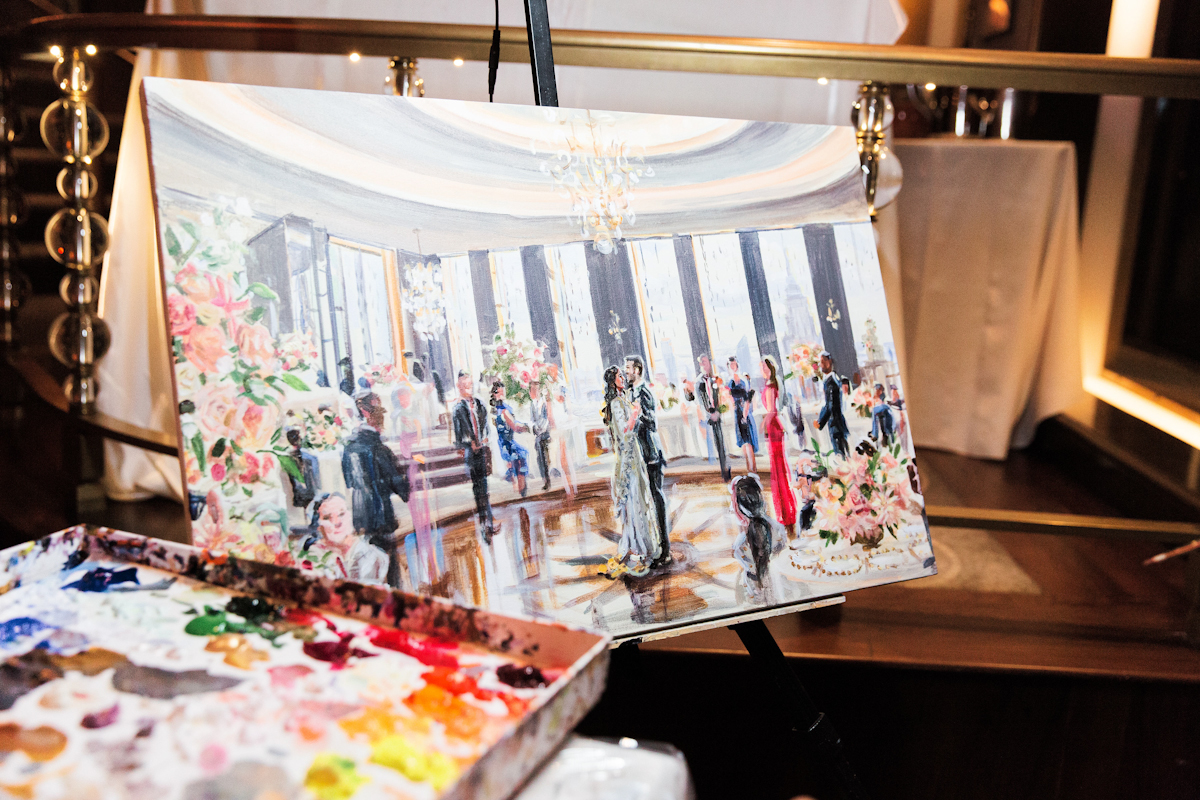 Rainbow Room Wedding, planner Ang Weddings and Events, photography Heather Waraksa, florals Poppies and Posies, live painter Katherine Gressel