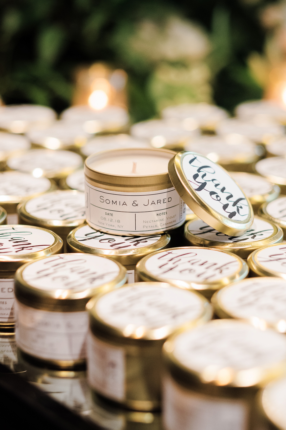 Candle wedding favors at Rainbow Room wedding