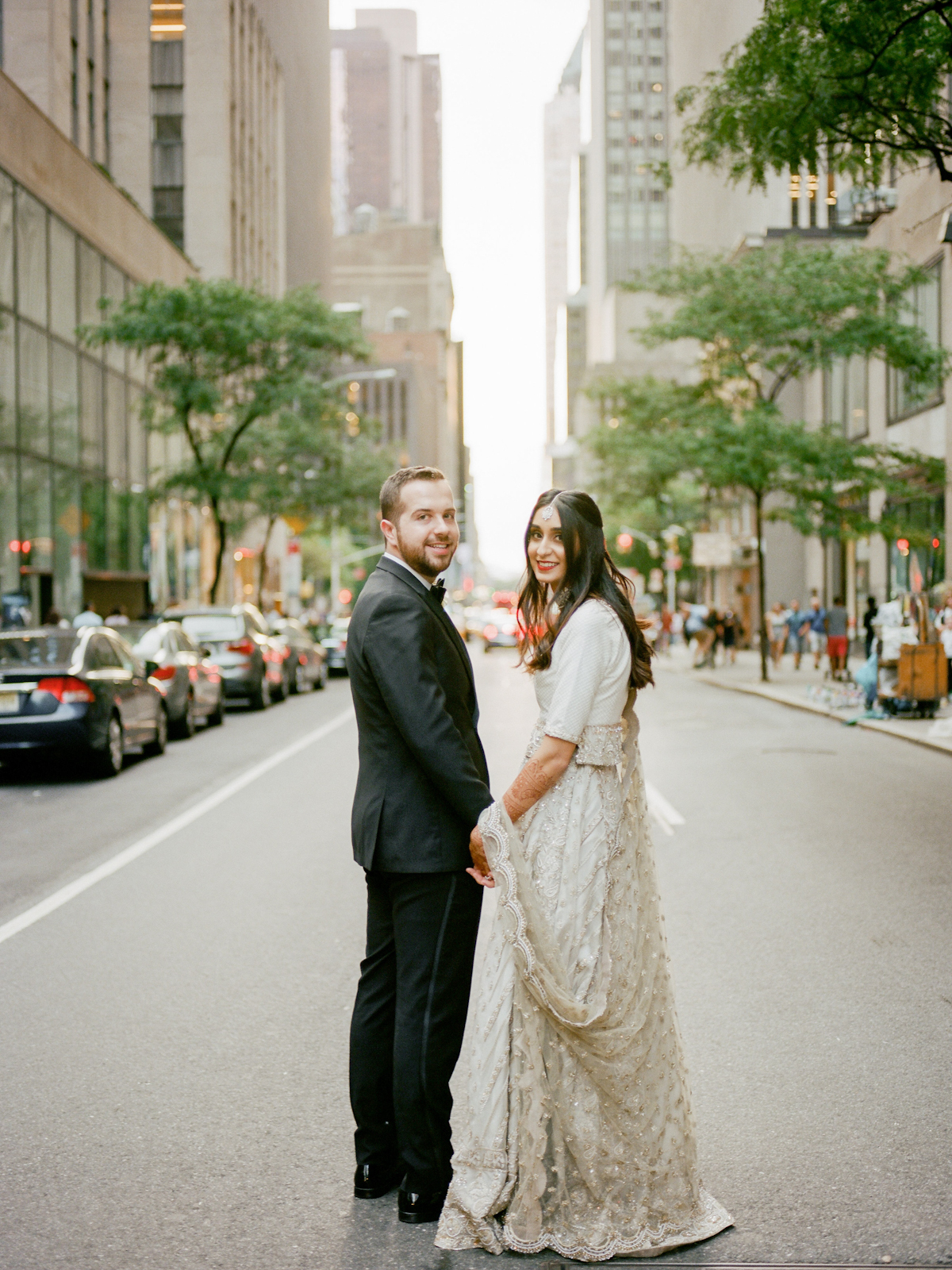South asian bride and groom on New York City street