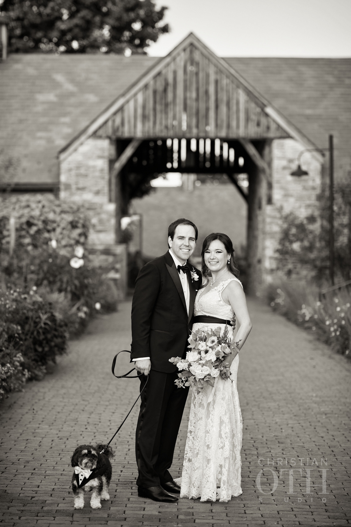 Bride and groom with dog at Blue Hill at Stone Barns Wedding, NY