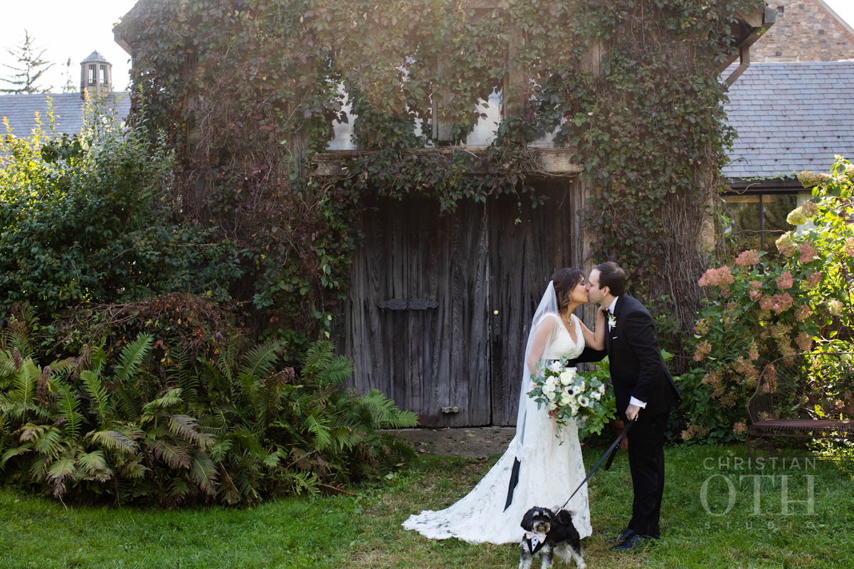 Bride, groom and dog at Blue Hill at Stone Barns wedding