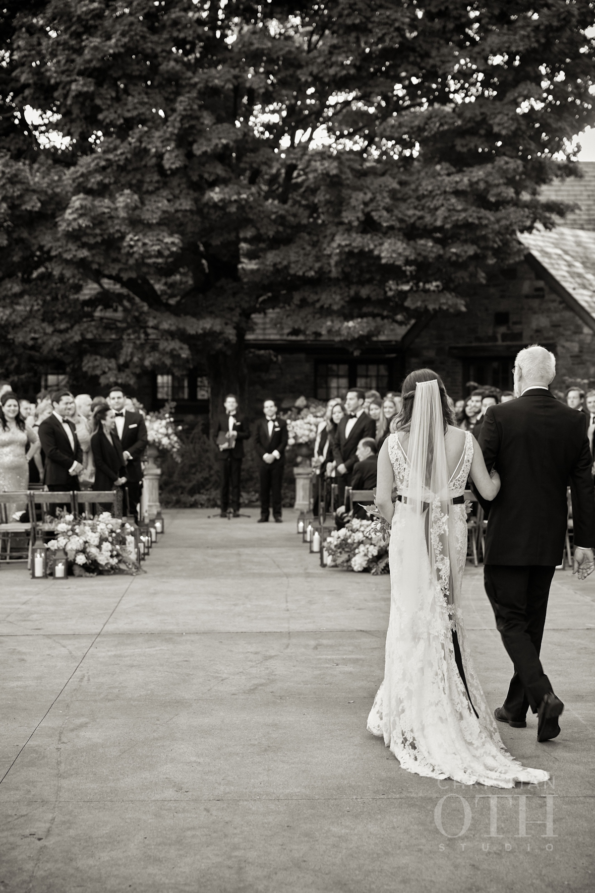 Bride walking down the aisle with her father at Blue Hill wedding