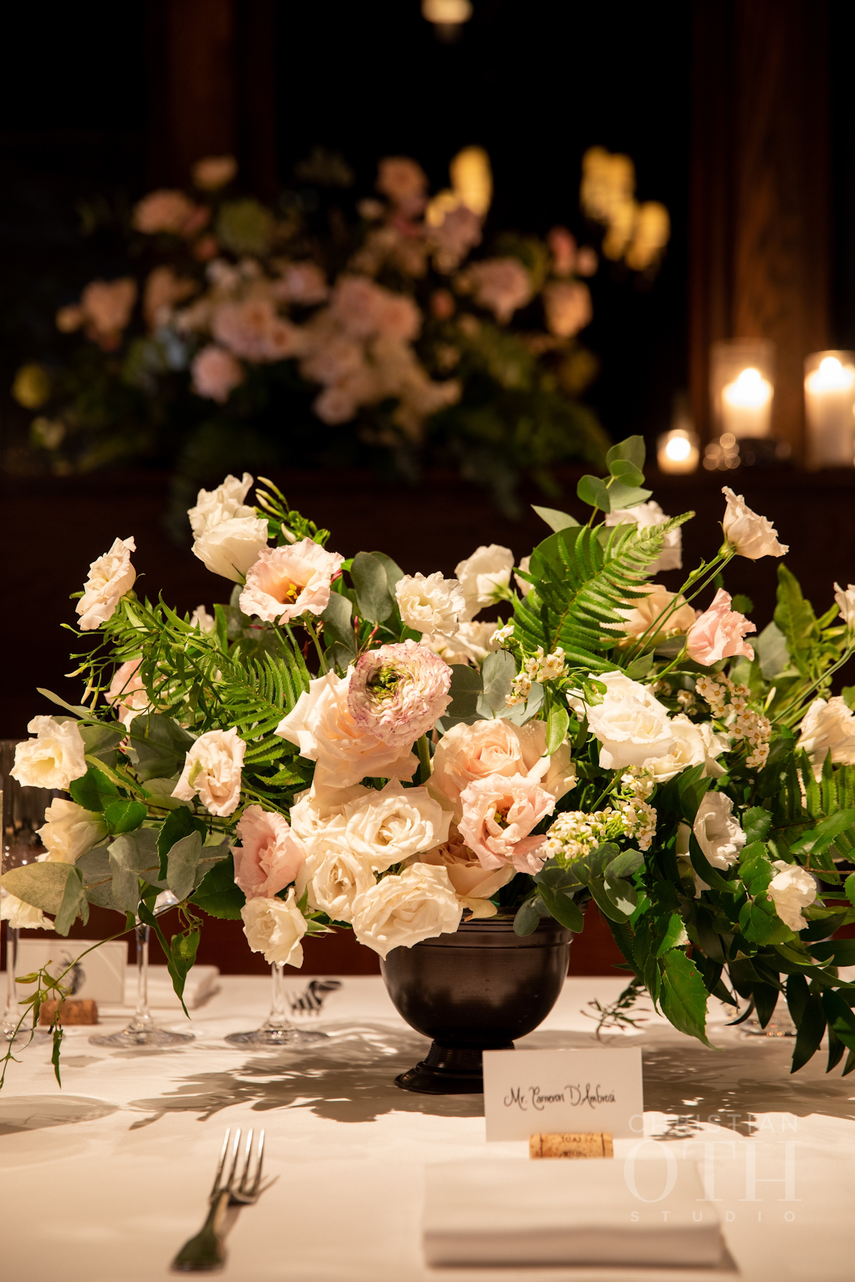 Flowers and place card at Blue Hill at Stone Barns wedding
