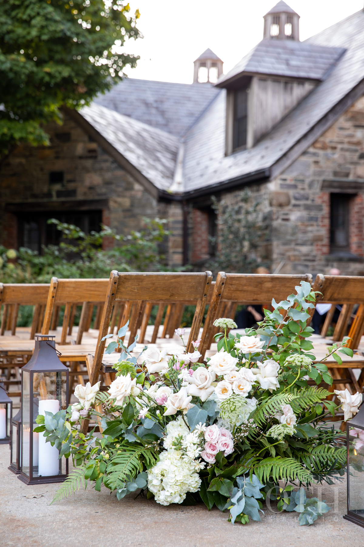 Ceremony flowers at Blue Hill at Stone Barns wedding