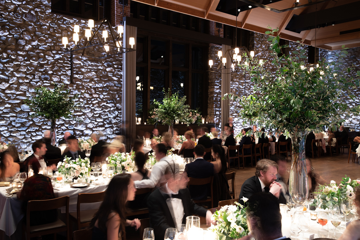 Guests enjoying dinner at Blue Hill at Stone Barns wedding