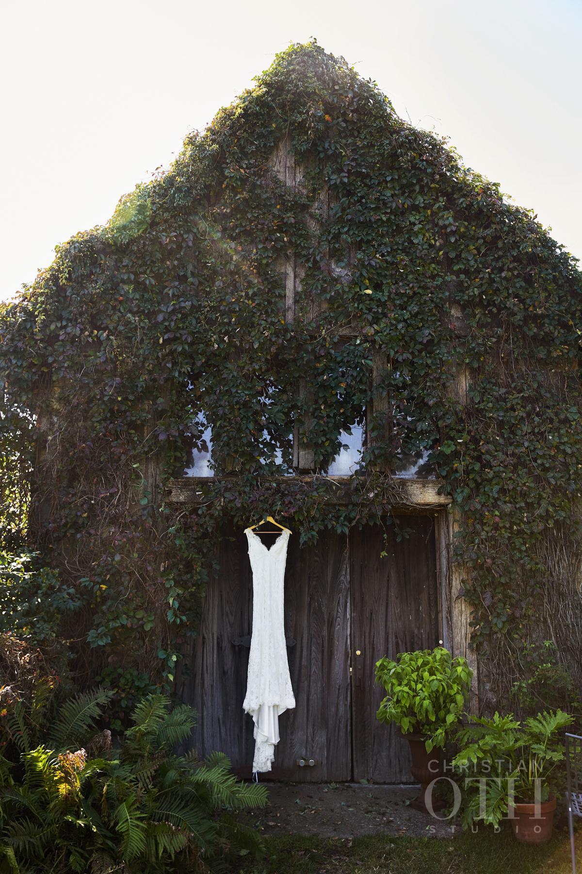 Bridal gown hanging at Blue Hill at Stone Barns