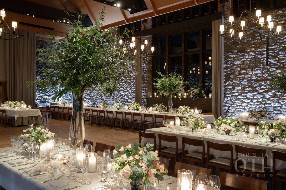 Blue Hill at Stone Barns wedding with long dramatic tables