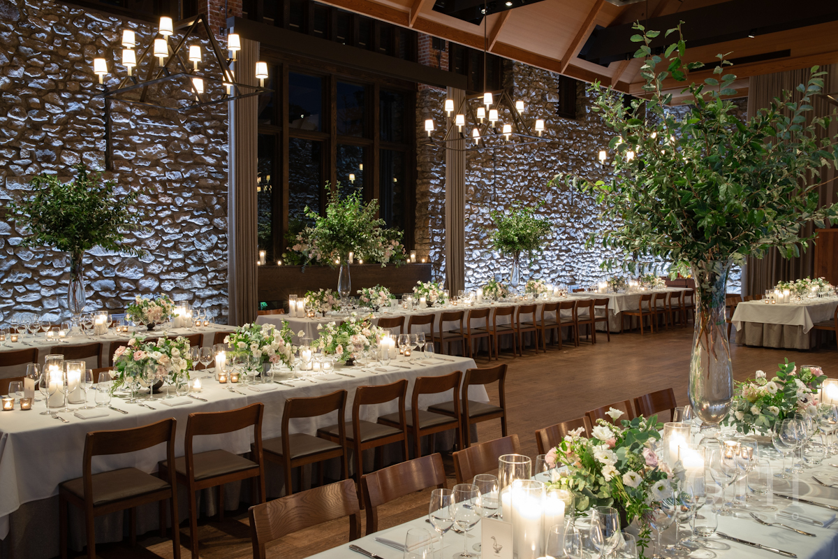 Flowers and candles at Blue Hill at Stone Barns wedding