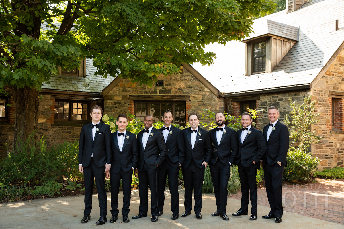Groom and groomsmen at Blue Hill at Stone Barns wedding