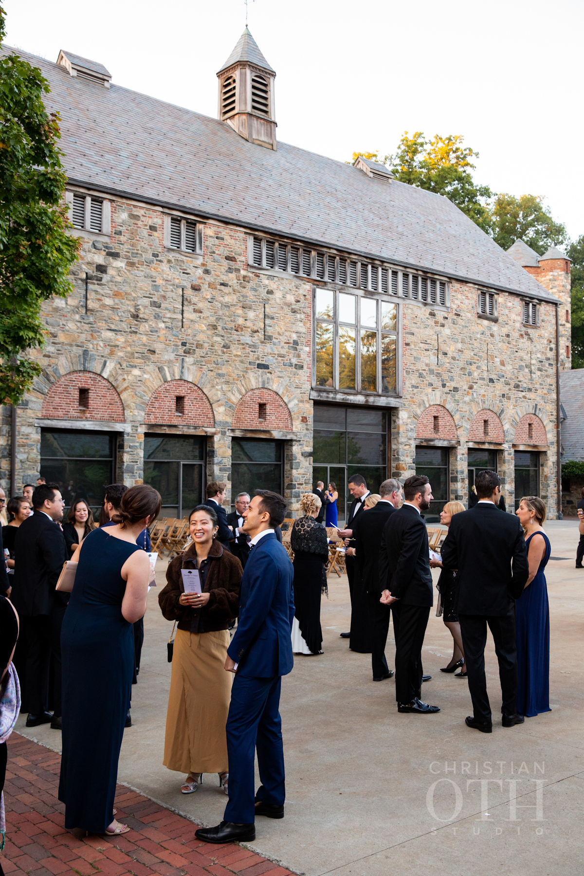 Guests arriving for outdoor wedding at Blue Hill at Stone Barns