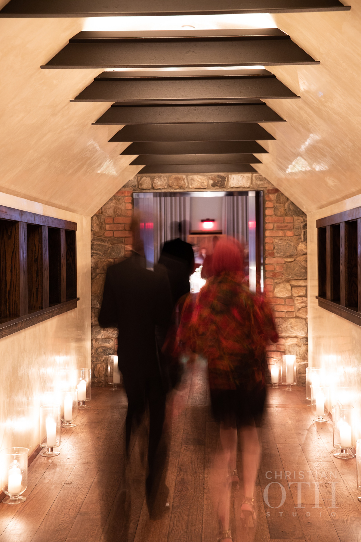 Guests arriving for dinner at Blue Hill at Stone Barns wedding